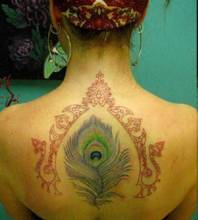 Bohemian style back tattoo