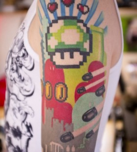 Bomberman and great mario style tattoo