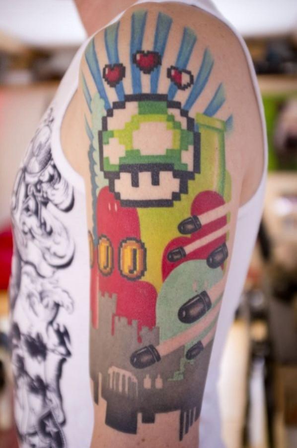 Bomberman and great mario style tattoo