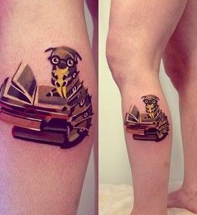 Books and simple animal tattoo