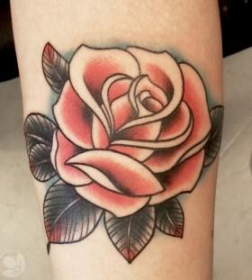Brown leafs and red rose tattoo
