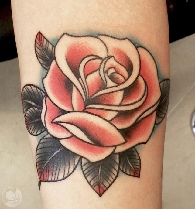 87de493f0d3ac Brown leafs and red rose tattoo - | TattooMagz › Tattoo Designs ...