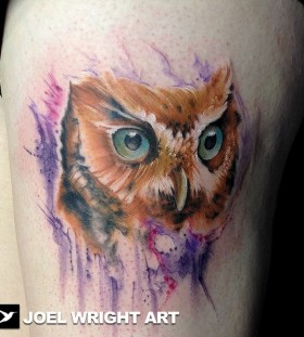 Brown owl watercolor tattoo