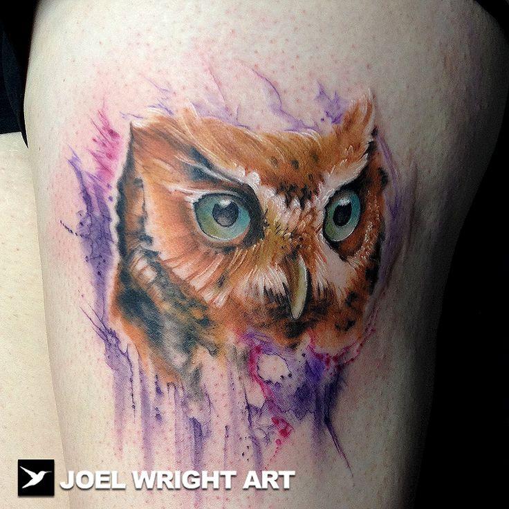 Brown owl watercolor tattoo