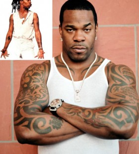 Busta Rhymes tribal tattoos