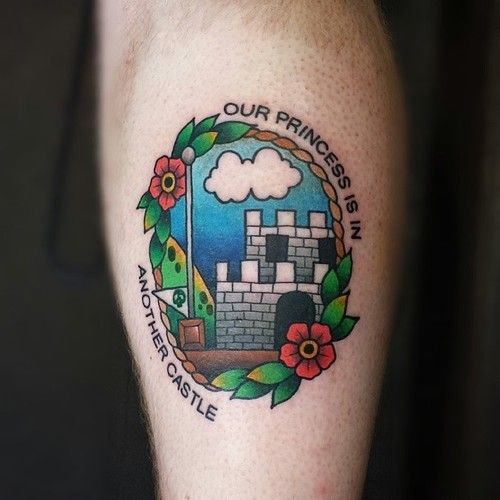 Castle and flowers mario style tattoo
