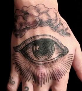 Clouds and black eye tattoo