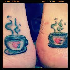 Coffe cup tattoo idea for couple