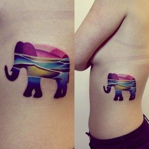 Colorful elephant's animal tattoo