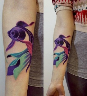 Colorful fish animal tattoo