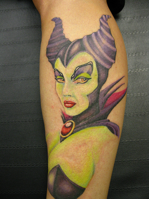 Coloured Maleficent leg tattoo