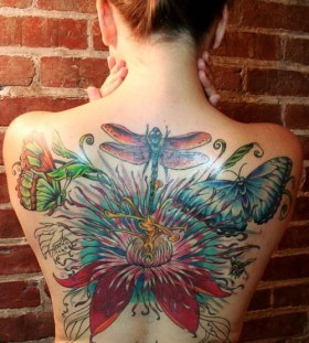 Coloured dragon-fly back tattoo
