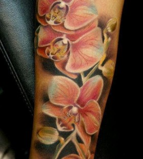 Coloured orchid arm tattoo