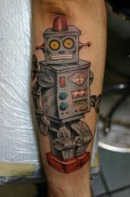 Coloured robot arm tattoo