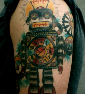 Colourful robot arm tattoo