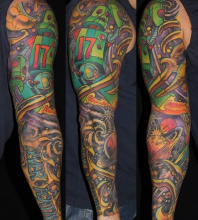 Colourful robot full arm tattoo