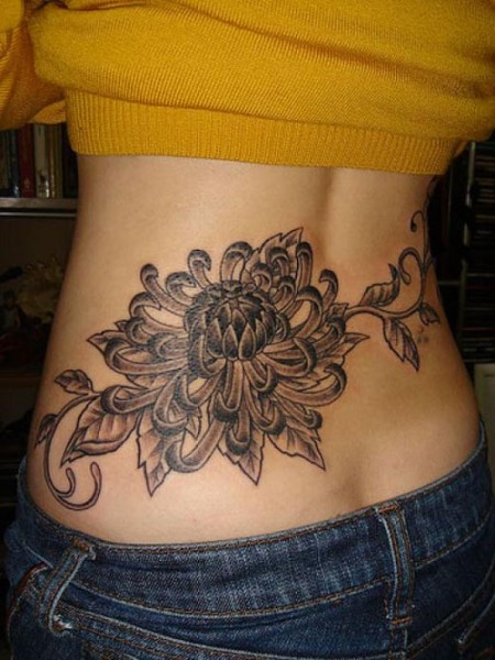 Cool black orchid back tattoo