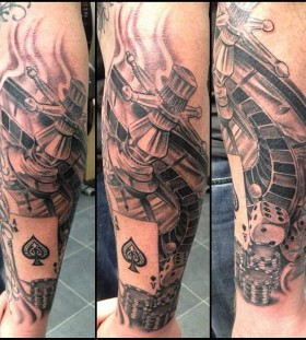 Cool gambling theme tattoo