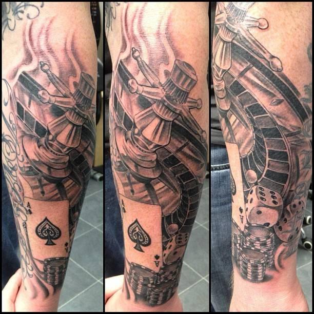 Cool gambling theme tattoo