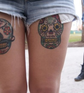 Cool indie style leg tattoos