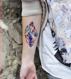 Cool looking diamond tattoo on arm