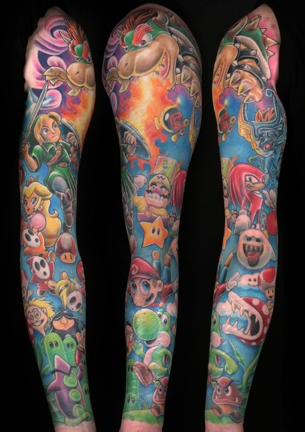 Cool looking mario style tattoo