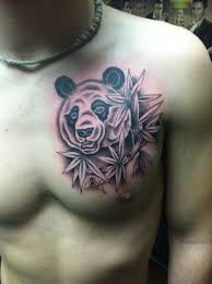 Cool panda bear chest tattoo
