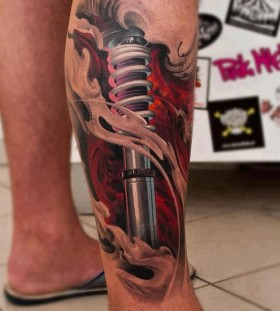 Cool robot leg tattoo
