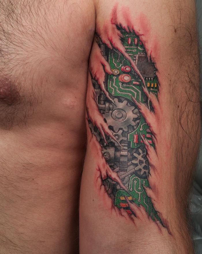 Cool robot mechanism tattoo
