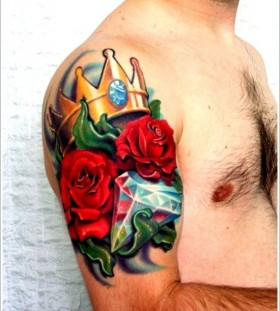 Crown and bright crystal rose tattoo