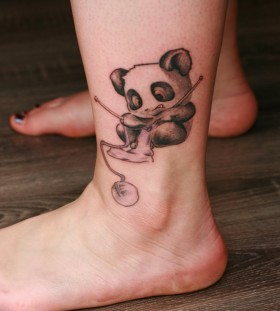 Cute panda bear leg tattoo