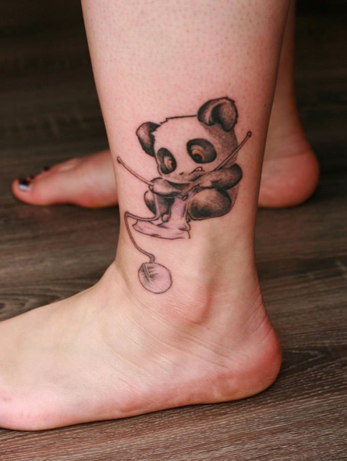 44a3c17fd Cute panda bear leg tattoo - | TattooMagz › Tattoo Designs / Ink ...