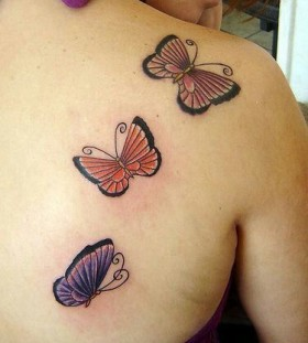 Different colors red butterfly tattoo