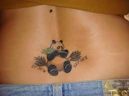 Eating panda back tattoo