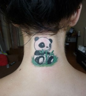 Eating panda bear neck tattoo
