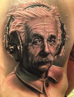 Einstein with headphones tattoo