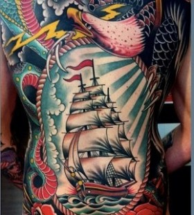 Flowers, ships and dragons full body tattoo