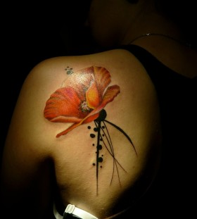 Gorgeous poppy flower back tattoo