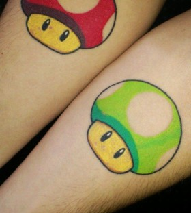 Green and lovely red mario style tattoo