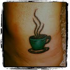Green cup of coffee tatto