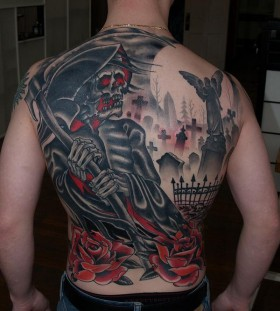 Grim reaper and cemetery back tattoo