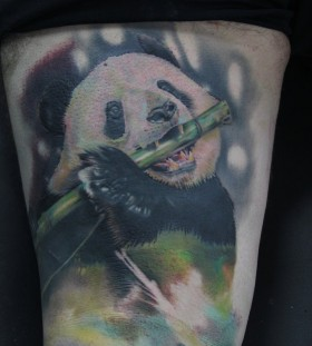Happy panda bear tattoo