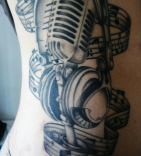 Headphones and microphone tattoo