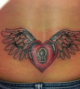 Heart locket with wings tattoo