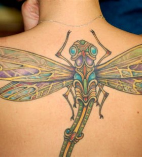 Huge dragon-fly back tattoo