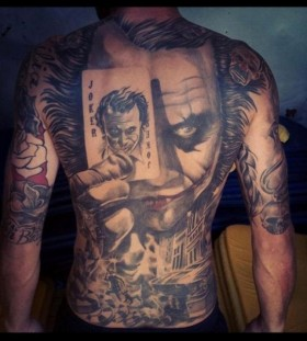 Incredible Joker full back tattoo