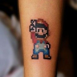 Inkcover super mario style tattoo