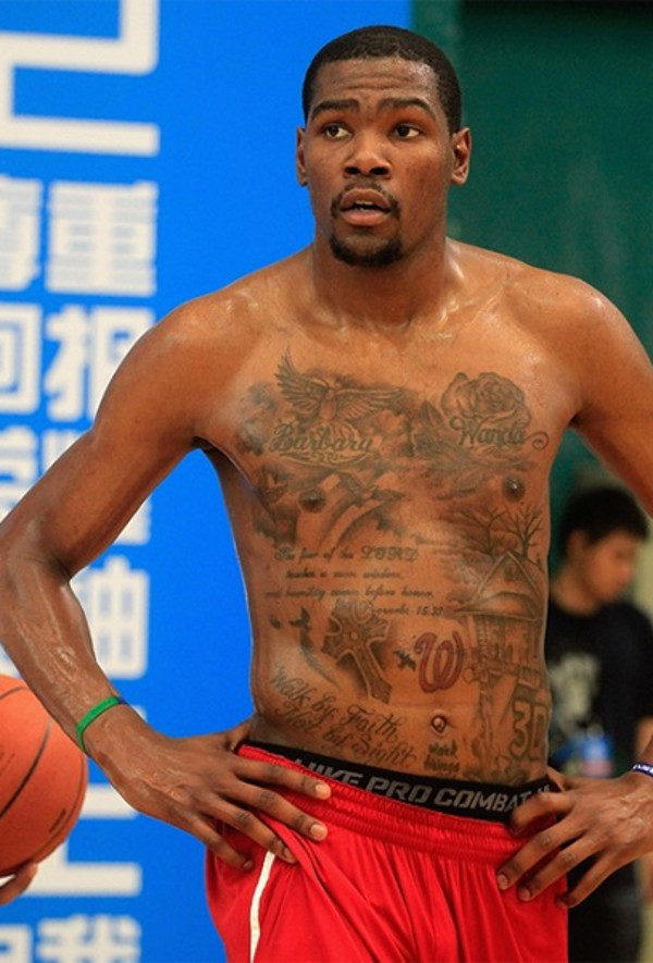 Kevin Durant's chest and stomach tattoo