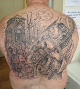 Large graveyard back tattoo
