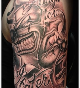 Laugh now cry later clown tattoo